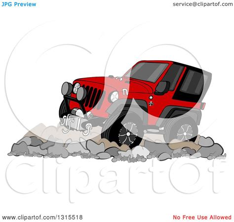 red jeep clipart clipart of a cartoon red jeep wrangler suv on boulders