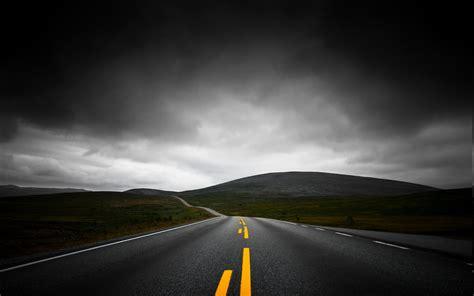 nature landscape highway dark clouds mountain sky