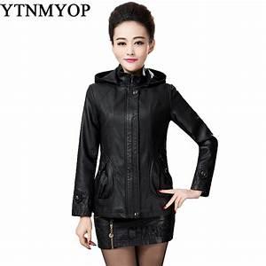 Autumn And Winter Women Leather Jacket Black Female ...
