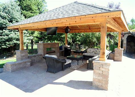 back yard pavillions with bar custom pavilion contractor