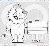 Wood Plank Coloring Friendly Cartoon Lion Blank Standing Sign Outlined Clipart Vector Pages Template Illustration sketch template