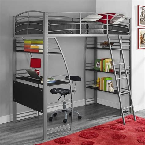 dhp loft bed dhp studio loft bed with integrated desk and shelves
