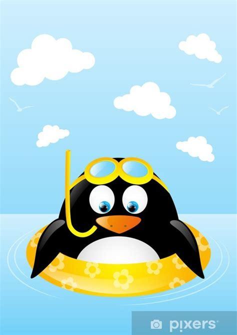 fototapete lustige schwimmen pinguin mit rettungsring