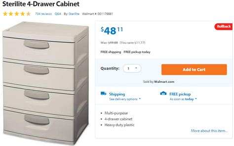 Sterilite 4 Drawer Cabinet Walmart by Walmart Sterilite 4 Drawer Cabinet Just 48 11