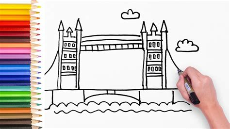 Learn how to draw London Bridge - Drawing video for kids ...