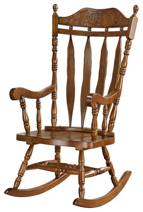 walnut 45 quot high solid wood rocking chair
