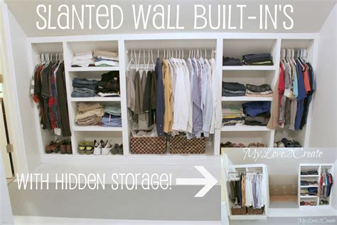slanted wall built ins with storage tutorial