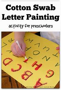 learning to write the alphabet with cotton swab painting With teaching toddlers to write letters
