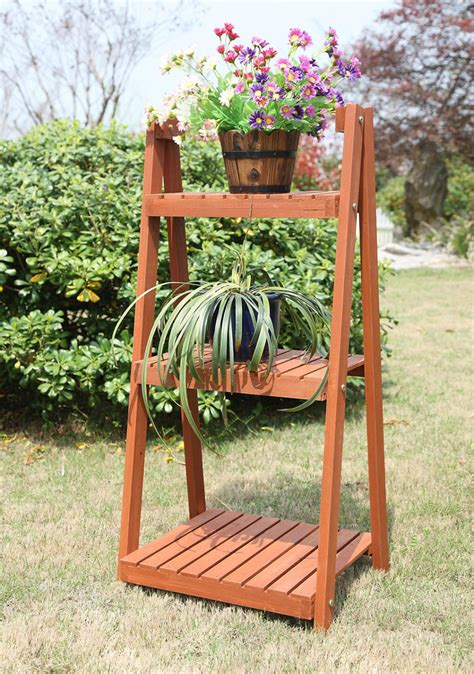 wooden patio plant stands home and garden outdoor wood ladder 3 tire plant stand