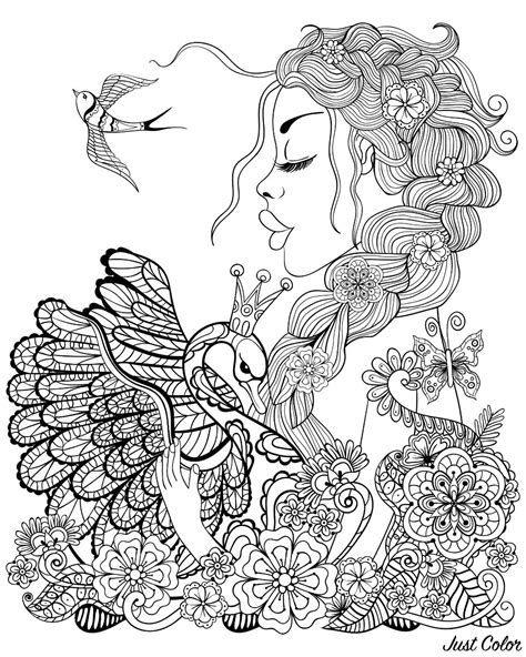 Woman swan and bird Birds Adult Coloring Pages