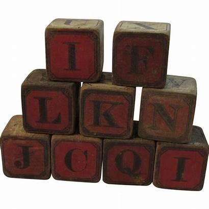 Wood Blocks Victorian Alphabet Number Children Ruby