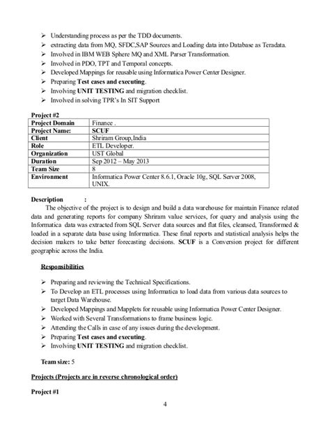 Informatica Idq Sle Resume by Resume Informatica Idq 4 Years Of Exp