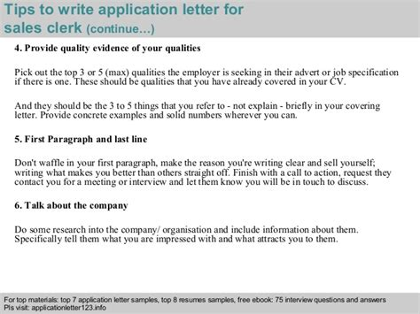 sales clerk application letter