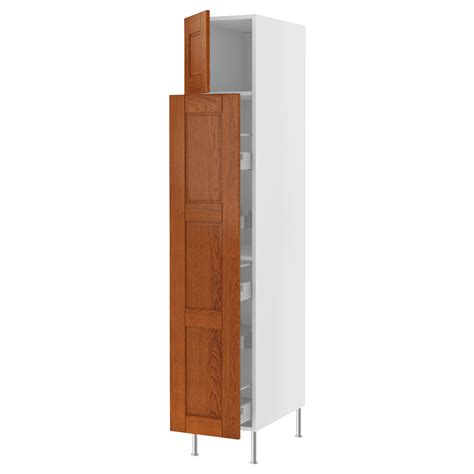 furniture large brown wooden kitchen storage cabinet with glass and wood door shelves