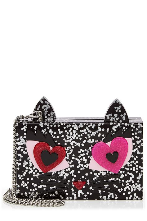 lyst karl lagerfeld box clutch multicolor  black