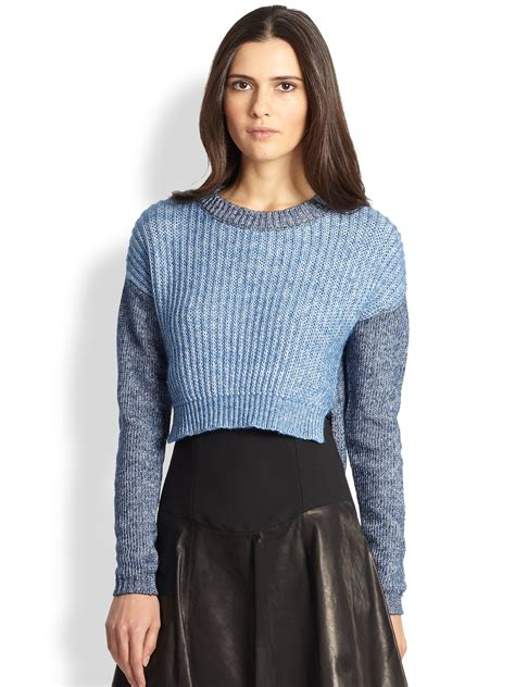 slouchy sweater tibi slouchy cropped pullover sweater in blue denim lyst