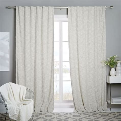 textured weave curtain blackout lining ivory west elm