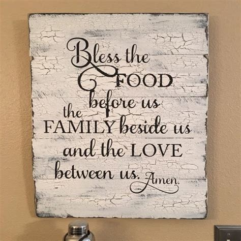 Kitchen Wood Signs Decor - rustic wood sign kitchen wood sign bless the food before