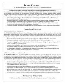 mortgage branch manager resume sle exle mortgage company branch manager resume free sle