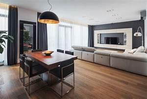Pleasant Oak Wood Flooring In Apartment Feat Modern Dining ...