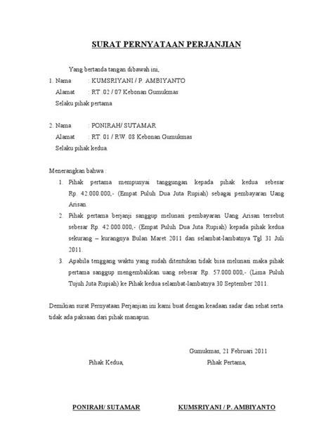 hasil gambar untuk contoh surat pernyataan perjanjian