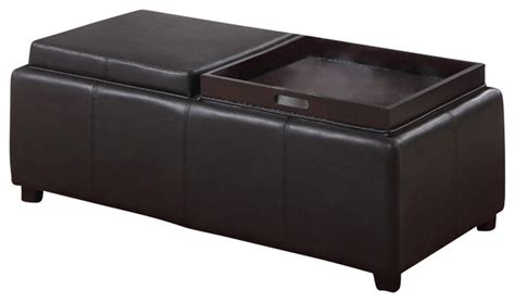 reversible ottoman coffee table faux leather storage ottoman with double reversible tray