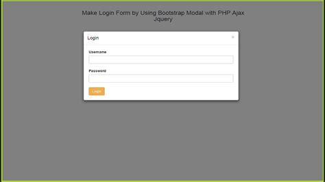 make login form by using bootstrap modal with php ajax