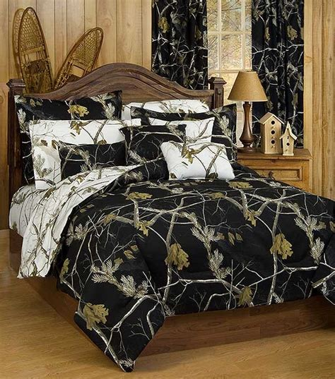 ap black and white camo twin size comforter sham set