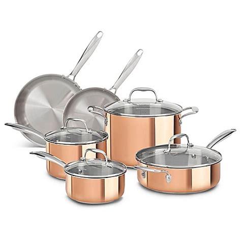 kitchenaid tri ply copper clad  piece cookware set