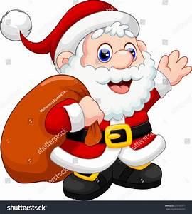 Cute Santa Claus Cartoon Waving Carrying Stock Vector ...