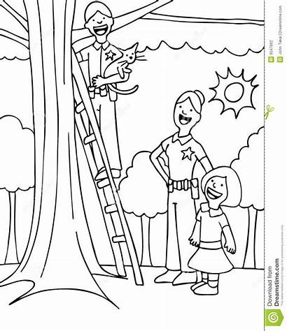 Rescue Clipart Police Pet Rescuing Cat Tree