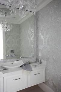 Silver Damask Wallpaper Contemporary Bathroom The