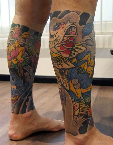 japanese koi leg sleeve tattoo snake tiger