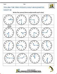 time worksheet oclock quarter