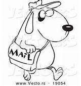 Coloring Cartoon Postal Carrying Worker Mail Dog Outlined Postman sketch template