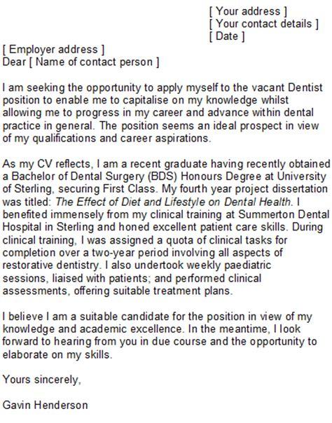 dental cover letter sle
