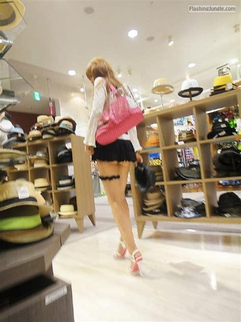 Japanese Teen Mini Skirt High Heels Flashing Store Pics
