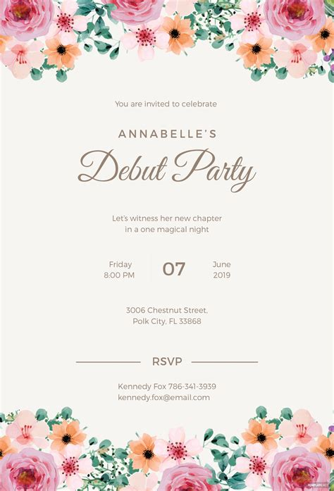 formal debut invitation template  microsoft word
