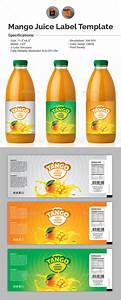 mango juice label template by aam360 graphicriver With juice bottle label template