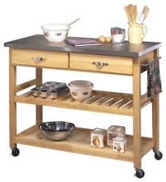Kitchen Island Or Cart Stainless Steel And Wood Kitchen Cart Transitional Kitchen Islands And Kitchen Carts By