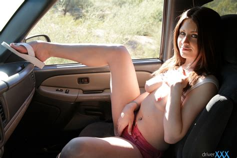 slutty hitchhiker delilah blue in shorty shirt sucks and fucks for a ride