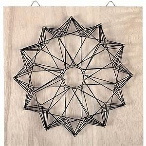 String Art Kit Rosace shape square rough wood 22x22 cm For