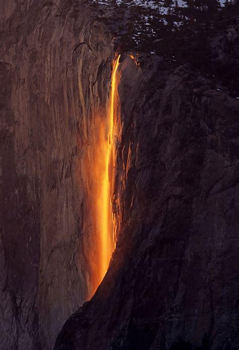 yosemite waterfall turns  firefall sfgate