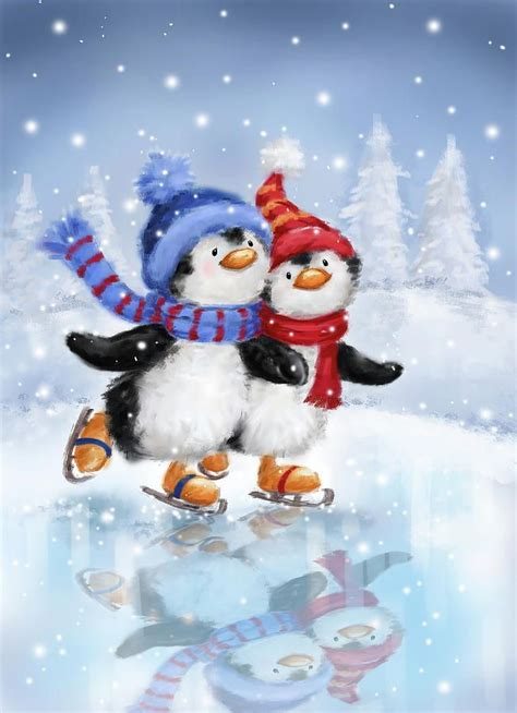 Free download latest beautiful penguin hd desktop wallpapers background, wide most popular birds images in high quality resolution, computer photos and pictures. Penguins Skating by Makiko   Christmas paintings, Christmas art, Christmas pictures