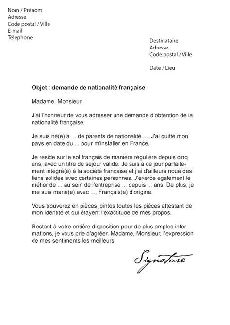 lettre de demande de nationalit 233 fran 231 aise mod 232 le de lettre