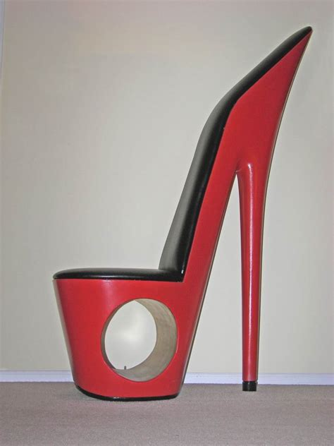 high heel shoe chair by a shoe chair