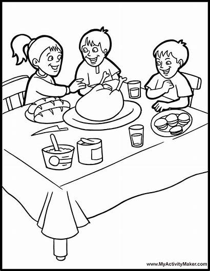 Coloring Dinner Thanksgiving Table Pages Eating Dining