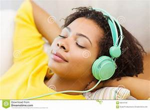 Happy Woman With Headphones Listening To Music Stock Image ...
