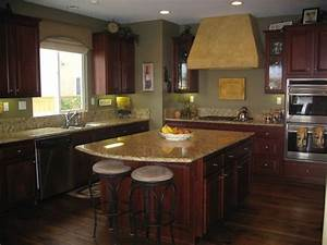 post color sage green kitchen walls with cherry cabinets 2204