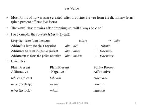 ppt verb conjugation verbs u verbs indeterminancy